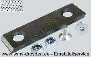 Gegenmesser 384407, 110 mm x 30 mm, Lochabstand 74 mm, Lochdurchmesser 8,5 mm inkl. Schrauben und Muttern